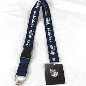NFL Seattle Seahawks Blue/White Lanyard Key Chain